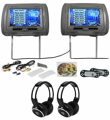 "Rockville RTSVD961-GR 9"" Gray Touchscreen DVD/HDMI Headrest Monitors+Headphones"