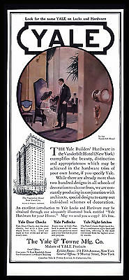 "Antique 1913 ""yale & Towne Mfg Co."" Locks  Hardware Vanderbilt Hotel  Print Ad"