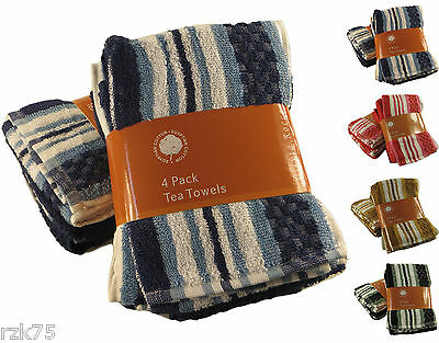 8 x Stripe Terry Tea Towels, Soft 100% Egyptian Cotton Catering Kitchen Towels