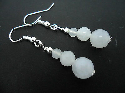 NEW. A PAIR OF MILKY WHITE JADE  BEAD  SILVER PLATED EARRINGS