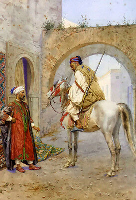 Oil painting alberto rosati - the carpet seller and horseman free shipping cost