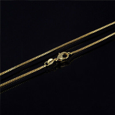 18K Gold Plated 1mm Thin Box Chain Necklace for Pendants 20 Inch Wholesale 1pc