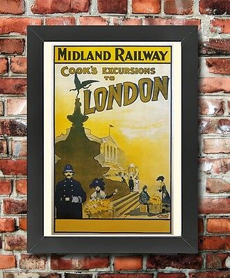 TX222 Vintage Midland Railway London Framed Travel Tourism Poster RePrint A3/A4