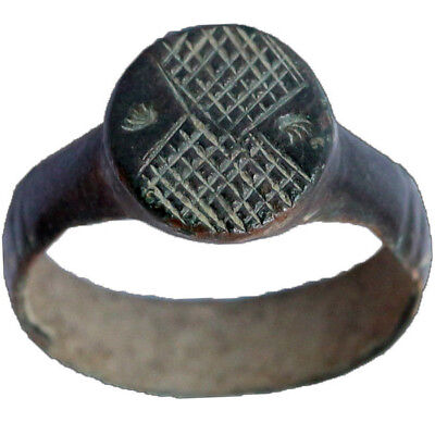 MUSEUM QUALITY INTAGLIO BYZANTINE BRONZE RING 8th-12th CENTURY AD