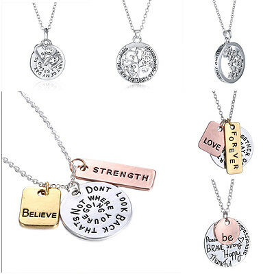 New 2019 Family Members Proverbs Love Letter Necklace Simple Pendant Lover Gift