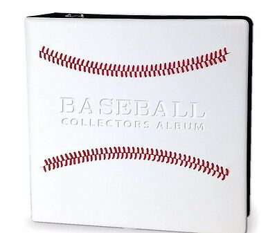 White Baseball Album 3 Inch Card Collector's 3 Ring Binder Red Stitching