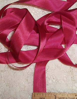 "RAYON Rose d PINK ribbon VINTAGE style 9/16"" X 5 YARDS! perfect for DOLL CLOTHES"