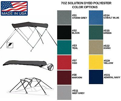 "Round Tube 3 Bow Boat Bimini Top 85""- 90""w X 46""h X 6'l Solution Dyed Polyester"