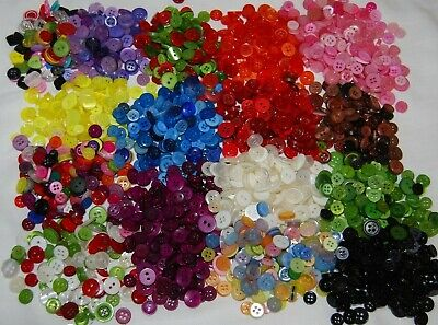 Various Small Buttons Mix Sizes & Weights - Bags Assorted Colours 8mm 10mm 12mm