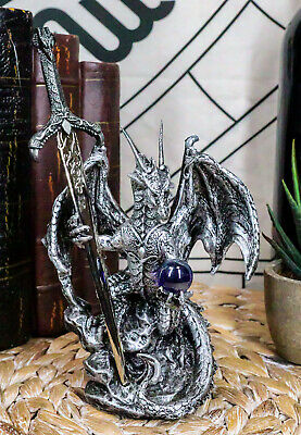 Legendary Silver Dragon Carrying Orb and Excalibur Sword Letter Opener Figurine