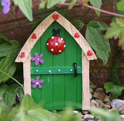 New Small Green Fairy Door Garden Ornament Trees Or Wall Fo_14624G