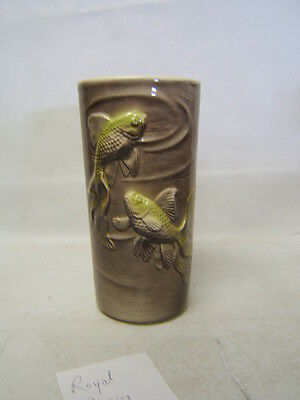 Royal Copley brown vase with lime green goldfish