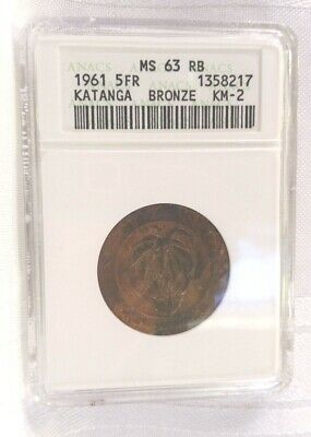 Katanga, Belgian Congo, 5 Francs MS-63 RB ANACS Issued Only One Year, Red Brown