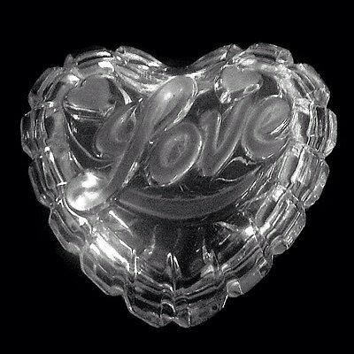 Mikasa Heart Shaped Crystal Glass Box with 'LOVE' Raised On Top