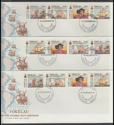 TOKELAU 1992 COLUMBUS 500TH ANNIV. DISCOVERY OF AMERICA FDC's (x3)(ID:181/D33377
