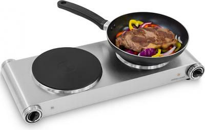 Andrew James Electric Twin Hob Stainless Steel Portable Double Camping Hotplate