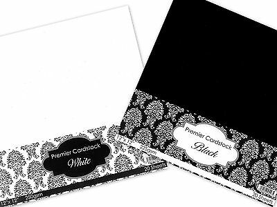 "BLACK & WHITE 20 SHEETS 12"" x 12"" PREMIER CARDSTOCK SCRAPBOOKING CARD 250gsm CUK"