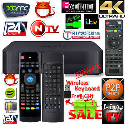 MXq XBMC TV Box Fully Quad Core Android Loaded Free Sports Movies TV+Keyboard UK