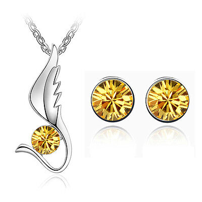 Yellow Jewellery Set Angel Wing Diamond Stud Earrings Pendant Necklace S518