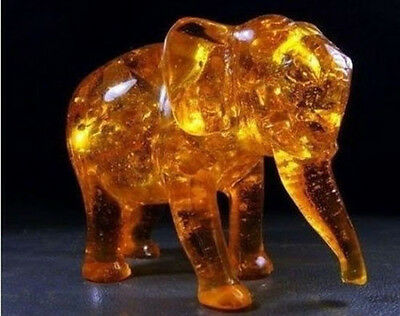 Collectible Rare amber carvings vivid elephant statue