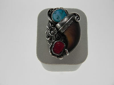 """Native American Sterling Silver Ring-""""E.Begaye""""-Navajo Faux Bear Claw"""