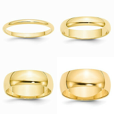 10K Solid Yellow Gold 2MM 3MM 4MM 5MM 6MM 8MM Men's Women's Wedding Band Ring