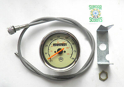 SPEEDO 80mph/120kph.STAIN' STEEL RIM+CABLE.SUITABLE FOR VESPA SCOOTS AS LISTED