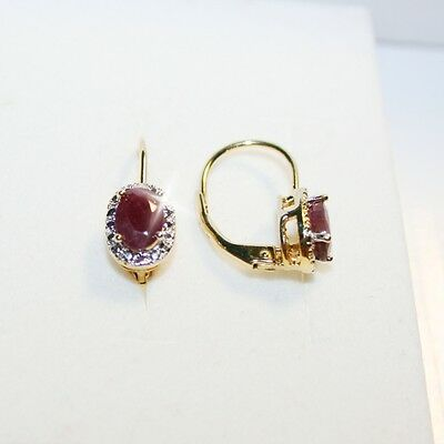 Natural Ruby Tiny Diamond Leverback Dangle Earrings 14k Yellow Gold Over Base