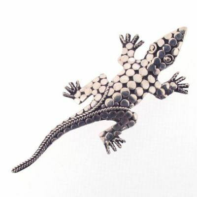 Sterling Silver Gecko Lizard Brooch with Oxidized Detail, 5.9 grams xxx