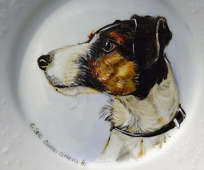Smooth Fox Terrier Hand Painted Porcelain Plate Dog Portrait Collectible