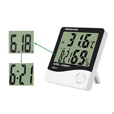 Indoor Digital LCD Display Clock Thermometer Hygrometer Humidity Meter HTC-1
