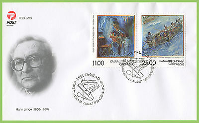 Greenland 1998 Hans Lynge Paintings set on First Day Cover