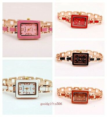 New 10pcs Fashion Square Face girls woman Metal band Wrist watches gifts SW9