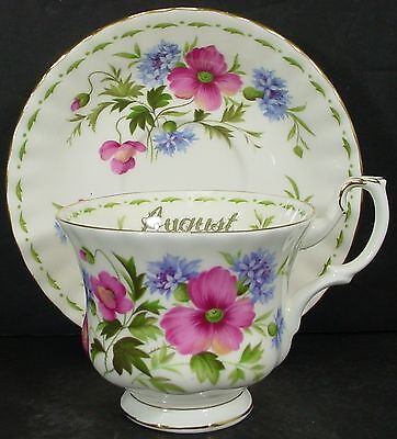 """ROYAL ALBERT china FLOWER OF THE MONTH August Poppy CUP & SAUCER Set Cup 2-3/4"""""""
