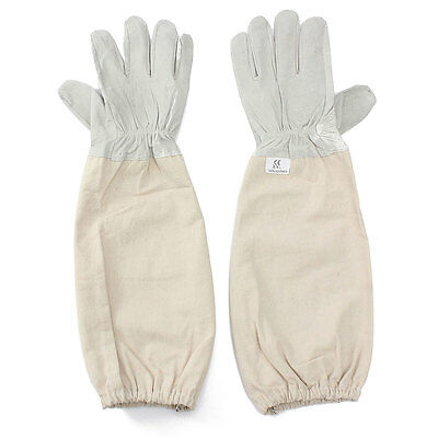 Professional Protective Bee Suit Beekeeping Goatskin Cape Gloves Long Sleeve XXL