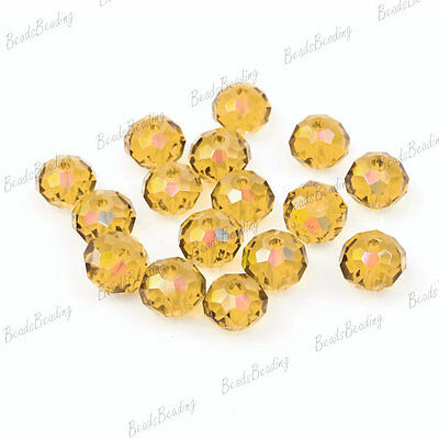 100pcs Fashion Rondelle Beads AB Effect Faceted Crystal  6x4mm Whosale DIY Beads