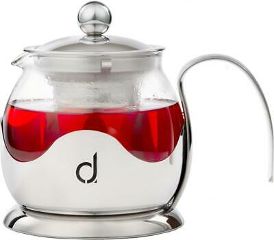 Andrew James Glass Infusion Teapot, Loose Tea Leaves Filter Herbal Infuser Pot