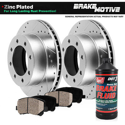 Rear Drilled & Slotted Brake Rotors And Ceramic Pads Ford Excursion F250 F350