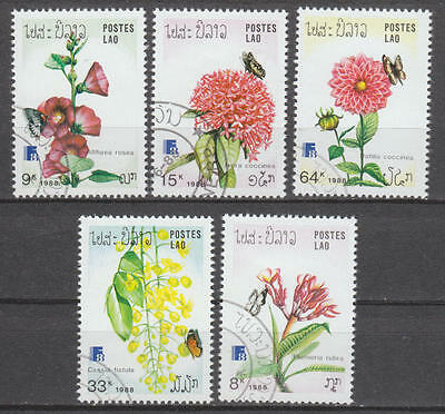 U/e096 - Butterflies: 1988 - Laos -Fine Stamps- Insects - Flowers - Plants -Used