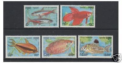 Cambodia - 1992 Fishes set - MNH - SG 1214/18