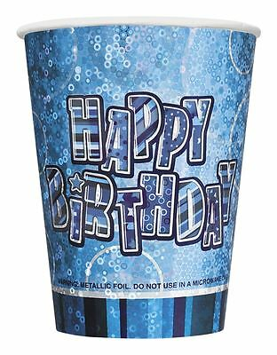 Pack of 8 Blue Prismatic Happy Birthday Party Paper Cups Tableware, Decorations