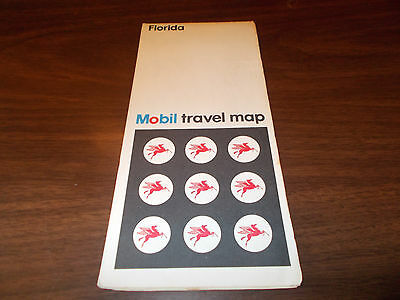 1973 Mobil Florida Vintage Road Map