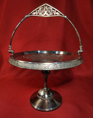 Rogers Smith & Co Silver Plated Brides Basket TIGER-SERPENT Animal NUDE Hunters