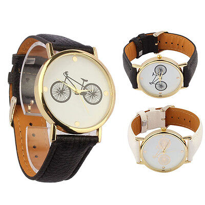 Watch For Men Women Bicycle Pattern Dial Leather Quartz Analog Wrist Watches Top