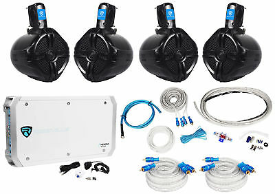 "4 Rockville RWB65B 6.5"" Wakeboard Marine Speakers+6 Channel Amplifier+Amp Kit"