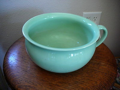 Antique Mint Green Colored Chamber Pot Commode Stoneware Pottery - Very Good