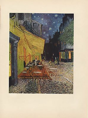 """1952 full Color Art Plate """" Sidewalk Cafe at Night """" Van Gogh Lithograph Litho"""