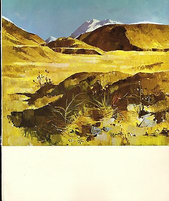 """1964 Vintage New Zealand Color Art Plate """"ROAD TO MT. COOK"""" McIntyre Lithograph"""