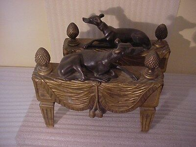 French Chenet Fire Dog Andirons w Reclining Bronze Whippet Dog /Rare!