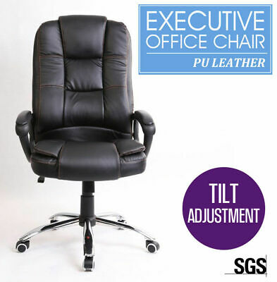 New Black Executive High Back Premium PU Thick Padding Leather Office Chair